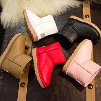 儿童雪地靴女童靴子保暖冬季鞋皮面短靴男童棉靴