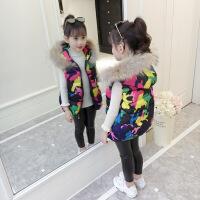 女童棉马甲秋冬2018新款韩版儿童冬季外穿真毛领加厚马甲背心坎肩 迷彩色