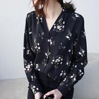 2019春季新款韩版V领衬衫女长袖宽松显瘦碎花雪纺衫百搭修身衬衣