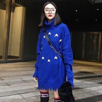 2018春装韩版宽松星星做旧高领长袖针织衫上衣港风套头毛衣外套女