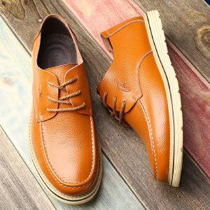 【夏季新品】2017四季版新款韩版圆头系带商务休闲鞋工装鞋真皮皮鞋男鞋单鞋2196-1BBS