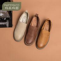 玛菲玛图英伦复古皮鞋女圆头平底单鞋女布洛克乐福鞋设计师女鞋108-10