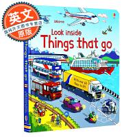 Look Inside Things That Go 英文原版童书 看里面系列 交通篇 绘本纸板翻翻书 交通工具 车辆