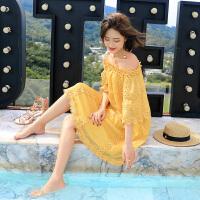 泰国一字领度假连衣裙潮2018春夏新款五分袖蕾丝显瘦百搭小清新女