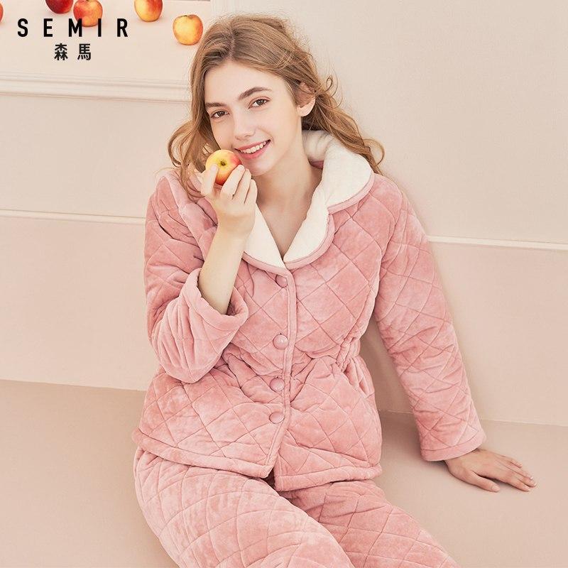 森马女士家居服套装冬季加厚加绒三层夹棉长袖保暖睡衣棉袄可外穿