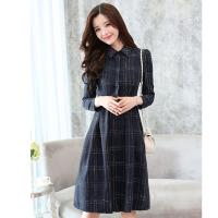 2018初春新款女装韩版格子长袖连衣裙中长款修身显瘦衬衫裙a字裙