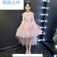 儿童礼服公主裙女童短袖前短后长一字肩模特走秀婚纱礼服钢琴演出