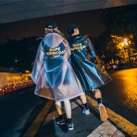 国潮高街防水雨衣长款风衣韩国港风橘色字母街头男女情侣