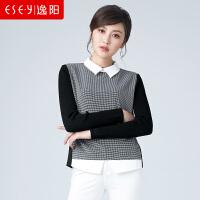 逸阳女装2018秋季新款假两件长袖衬衫针织毛衣上衣0776