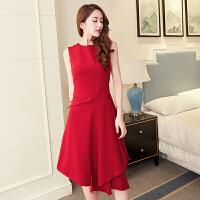 明星同款无袖不规则红色结婚敬酒服宴会年会小礼服连衣裙