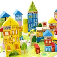 100粒桶装城市交通场景积木木制智力早教儿童大块木质玩具