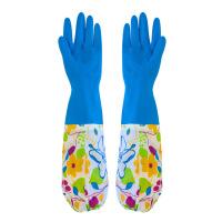 洗衣加绒保暖手套防水耐用加长加厚乳橡胶厨房洗刷碗家务 颜色随机