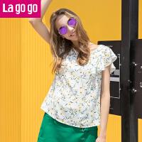 Lagogo/拉谷谷2017夏季新款V领碎花荷叶边遮肚子上衣女宽松T恤