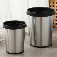 欧润哲 不锈钢圆形压袋式垃圾桶套装 办公室酒店无盖垃圾筒 2只装