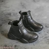 冬季男童鞋子2018新款秋二棉短靴女童马丁靴休闲儿童靴子加绒皮鞋秋冬新款 黑色 (加绒)