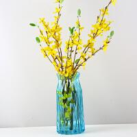 创意家居摆件水培富贵竹装饰品玫瑰插花器透明水晶玻璃花瓶大号