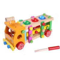 儿童拼插积木拼拆装螺母组合木制车模型男孩宝宝玩具木质