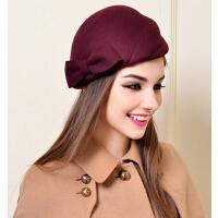 韩版潮女英伦小礼帽蝴蝶结女帽 可爱春秋冬天贝雷帽羊毛呢帽子