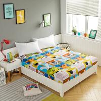 单件全棉儿童卡通1.2m防滑床笠床罩纯棉1.5米1.8薄棕垫保护套定做 翠绿色 动物乐园
