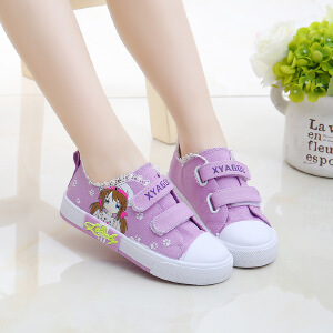 帆布鞋 女童卡通印花秋季韩版新款低帮平底鞋子时尚舒适中大童款式休闲鞋