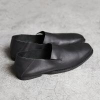 DAZED CONFUSED复古方头缝制懒人低帮一脚蹬透气牛皮小众男鞋