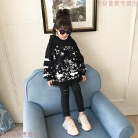 女童圣诞卫衣冬款 儿童加厚上衣2018新款童装冬装 女宝宝连帽衫厚 黑色