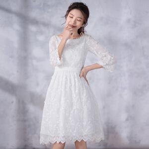 【618狂欢新品直降再享�弧垦袒ㄌ潭�叙 2018夏新款女装甜美蕾丝中长款连衣裙 风渐暖