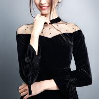 �z�q收腰黑色�B衣裙2018春�b新款名媛年���Y服裙子小黑裙中�L裙女 黑色