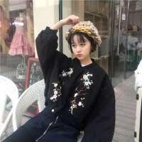 毛呢外套女 学生韩国冬天短款东大门ulzzang文雅刺绣加厚大衣bf潮