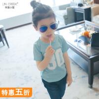 童装2018女童打底衫t恤中大童字母棉T恤儿童韩版半袖女孩短袖上衣