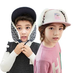 kk树儿童帽子男秋冬个性时尚护耳女宝宝帽子秋加厚小孩鸭舌帽保暖