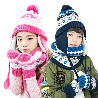 kk树儿童三件套帽围巾手套秋冬女宝宝帽子围巾套装男童毛线帽冬 内里加绒 多色可选 亲肤面料