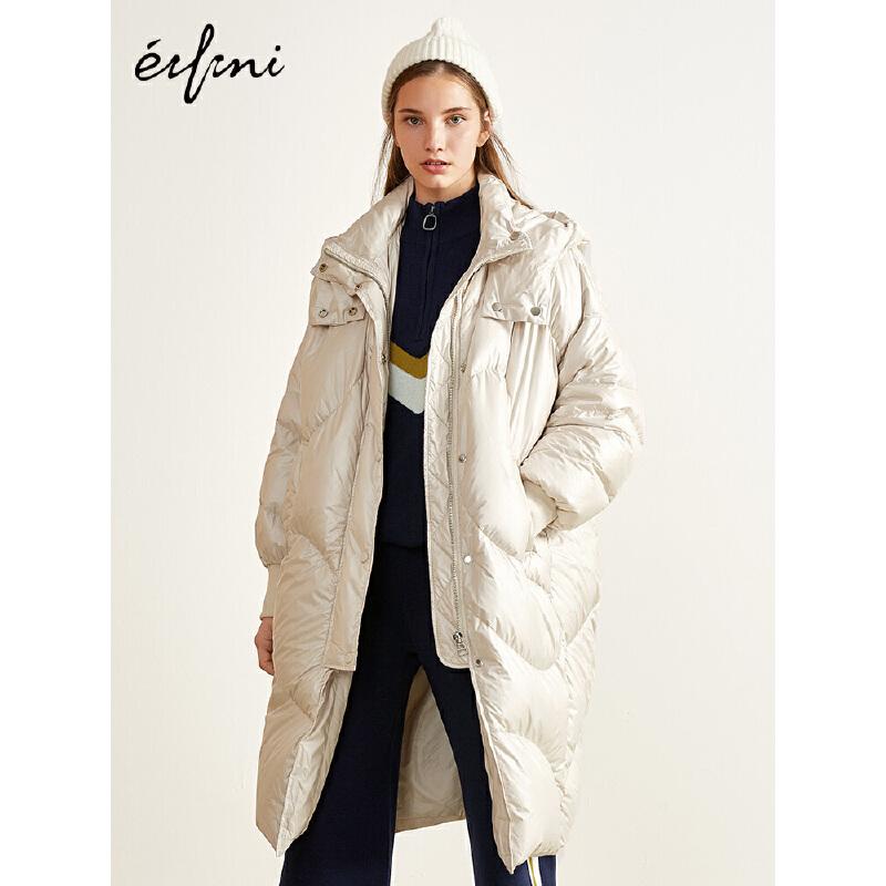 2件4折 伊芙丽2018冬装新款韩版外套长款加厚连帽羽绒服女