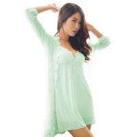 吊带带胸垫睡裙女士夏季性感睡衣蕾丝秋冬情趣火辣成人冰丝两件套
