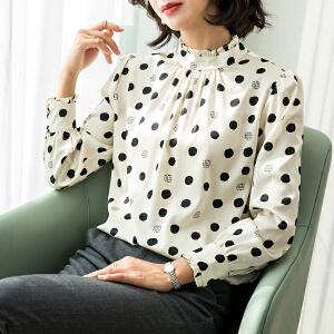 安妮纯欧洲站2020春装新款长袖雪纺衬衫女时尚气质波点印花立领上衣