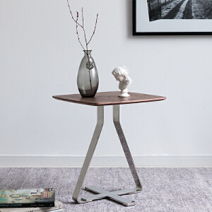 奇居良品 客厅家具克里丝胡桃木饰面不锈钢脚沙发边几小茶几