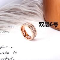 钛钢饰品欧美潮人爆闪满钻戒指指环气质钻戒食指戒指彩金女戒尾戒 玫瑰金双层 美码6号