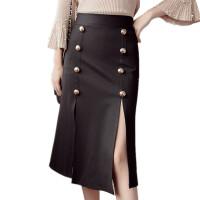 时尚半身裙中长款2018春夏季双排扣高开叉优雅成熟黑色包臀裙显瘦 黑色