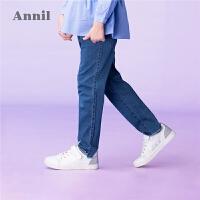 【3件3折:80.7】安奈儿童装女童修身牛仔裤新款洋气弹力腰磨破毛边休闲长裤子