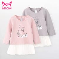 猫人 女童2019新款中大儿童纯棉拼接荷叶边下摆春秋款上衣长袖T恤