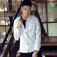 新款2018男士长袖男士个性长袖衬衫男士纯色长袖男装衬衫休闲潮流