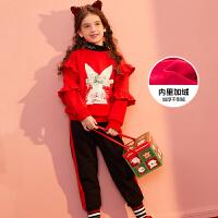 【冬清仓价:135】巴拉巴拉旗下巴帝巴帝2019年新品中大童甜美印花女童休闲运动套装