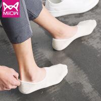 猫人船袜纯棉袜子男士纯色防臭硅胶不掉跟隐形袜夏季薄款五双
