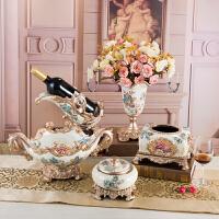 欧式家居装饰品工艺品纸巾盒树脂水果盘三件套装奢华创意摆件