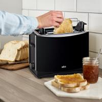 Braun/博朗HT450家用全自动多士炉早餐烤面包机吐司机2片土司机三种功能选择同时烘烤两片