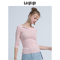 【5折价129.5】Lagogo/拉谷谷2018年秋季新款时尚学院风刺绣针织衫HCMM317M08