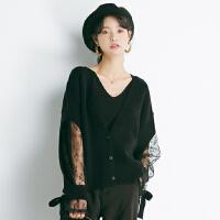 chic韩范优雅淑女蕾丝拼接纯色春季开衫新品针织衫女R