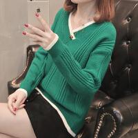 女士毛衣短款韩版套头鸡心V领针织打底衫女装春装2018新款百搭潮