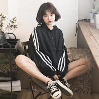 春夏女装韩版BF风宽松撞色条纹连帽短款风衣外套学生夹克上衣外套