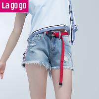 【清仓3折价65.7】Lagogo2019夏季新款休闲裤子阔腿流苏边热裤百搭破洞牛仔短裤女